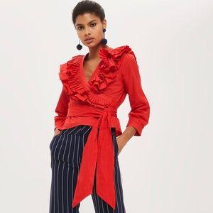 TOPSHOP Red Wrap Long Sleeve Ruffle Poplin Blouse